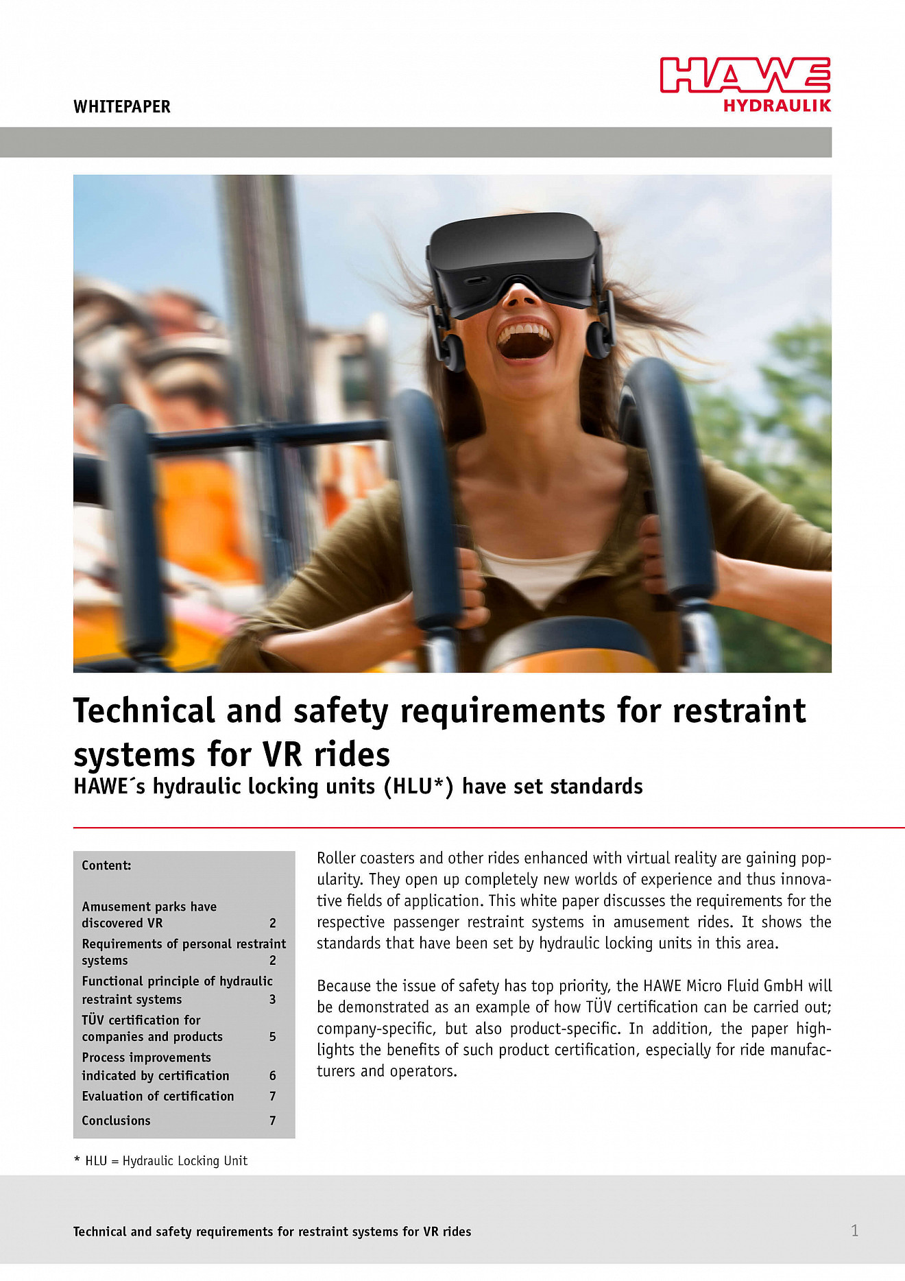 Whitepaper: Restraint systems for VR rides